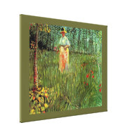 A Woman Walking in a Garden, Vincent van Gogh Gallery Wrapped Canvas