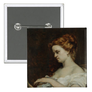 A Woman with Jewellery, 1867 2 Inch Square Button