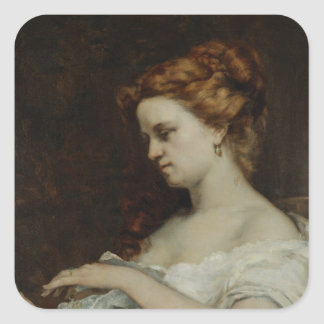 A Woman with Jewellery, 1867 Square Sticker