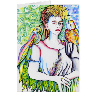 A woman with parrots card