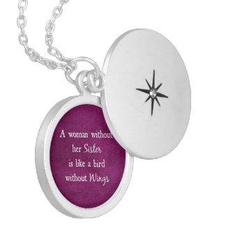 A woman without her Sister is like Quote Silver Plated Necklace