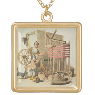 A Woman Wool Skeiner, engraved by the artist, 1808 Gold Plated Necklace