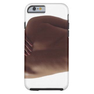 A woman's bare back with one hand reaching tough iPhone 6 case