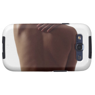 A woman's bare back with one hand reaching galaxy SIII cases