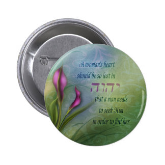 A Womans Heart - Calla Lily 2 Inch Round Button