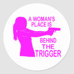 A WOMAN'S PLACE CLASSIC ROUND STICKER