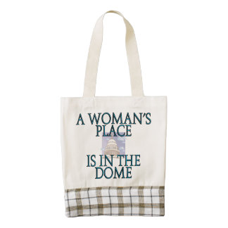 A woman's place is in the dome zazzle HEART tote bag