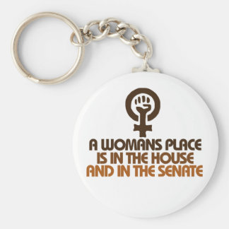 A womans place is in the house and senate basic round button keychain