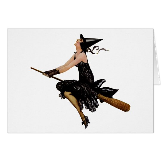 A Wonderful Classic Witch Flying on Broomstick Card