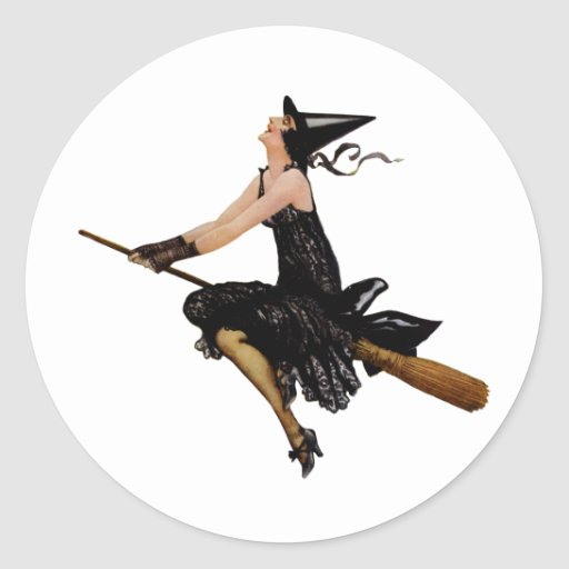 A Wonderful Classic Witch Flying on Broomstick Classic Round Sticker