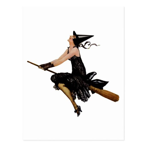 A Wonderful Classic Witch Flying on Broomstick Postcard