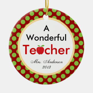 A Wonderful Teacher Customizable Christmas Ceramic Ornament