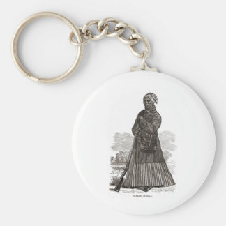 A woodcut image of Harriet Tubman, before 1869 Basic Round Button Keychain