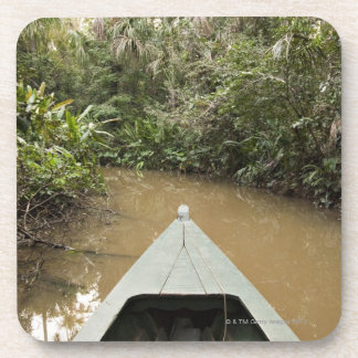 A wooden canoe made of Eucylptus tree floats in 2 Drink Coaster