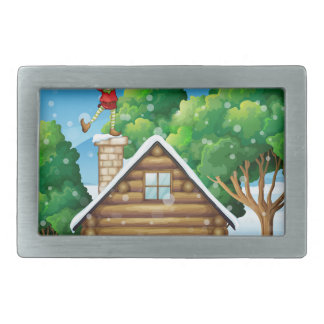 A wooden house with a playful elf at the rooftop belt buckle
