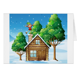 A wooden house with a playful elf at the rooftop card