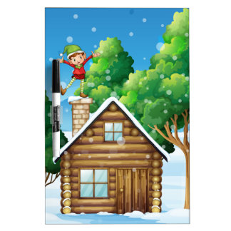 A wooden house with a playful elf at the rooftop dry erase board