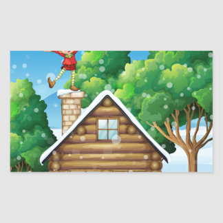A wooden house with a playful elf at the rooftop rectangular sticker