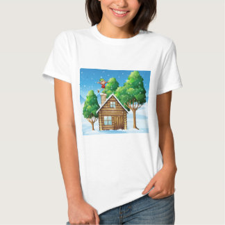 A wooden house with a playful elf at the rooftop tee shirt