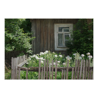 A wooden hut photograph poster