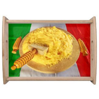 a wooden tray  with the photo of polenta