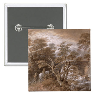A Woodland Pool with Rocks and Plants, c.1765-70 ( 2 Inch Square Button