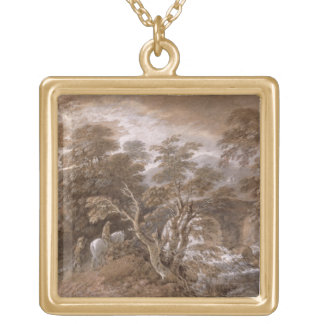 A Woodland Pool with Rocks and Plants, c.1765-70 ( Gold Plated Necklace