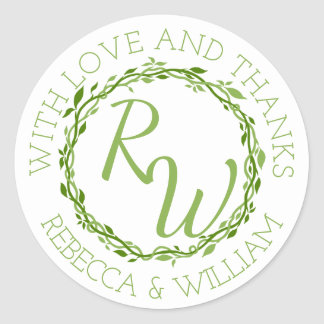 A Woodsy Elegance | Wedding Vine Thank You Favor Classic Round Sticker