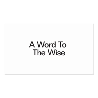 A Word To The Wise Double-Sided Standard Business Cards (Pack Of 100)