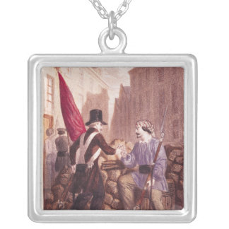 A Worker Sharing his Bread with a Student Silver Plated Necklace
