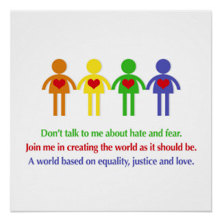 A World Based on Equality, Justice and Love Poster