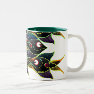 A World Full of Smiling Fishes Two-Tone Coffee Mug