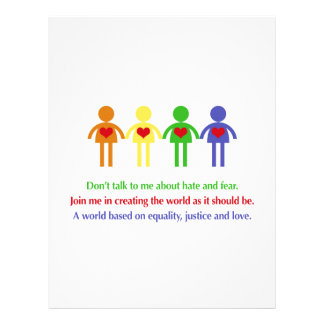 A World of Equality, Justice and Love Letterhead