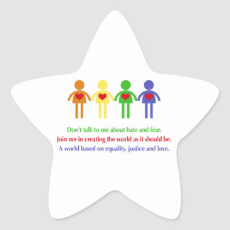 A World of Equality, Justice and Love Star Sticker