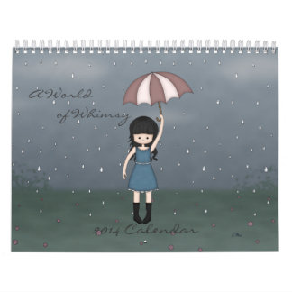 A World of Whimsy Cute Girls Illustrations 2014 Wall Calendar