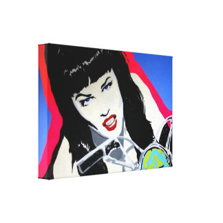 "A Wrapped Canvas Print of ""Motorcycle Girl"""