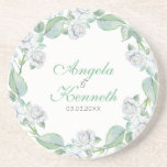 A Wreath Of White Roses Drink Coaster