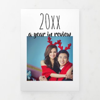A Year In Review Holiday Photo Collage Tri-Fold Holiday Card