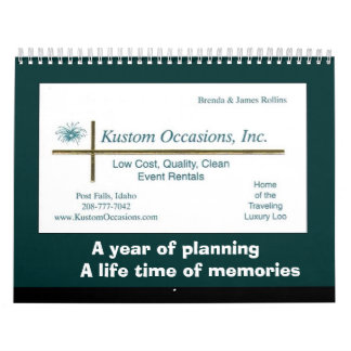 A year of planning, a life time of memories calendar