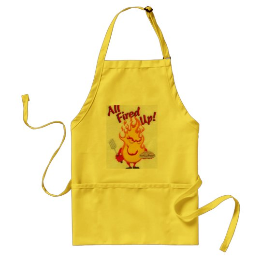 """A yellow  """"All fired up"""" apron"""