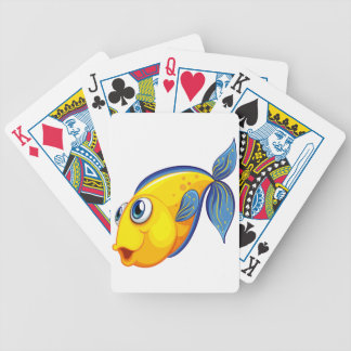 A yellow fish bicycle playing cards