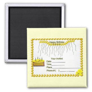A Yellow Happy Birthday  Invatation Magnet