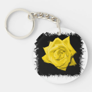 A yellow rose with black back jagged  frame round acrylic keychains