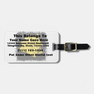 A yellow rose with black back jagged  frame travel bag tag