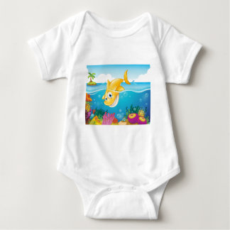A yellow shark diving into the sea baby bodysuit