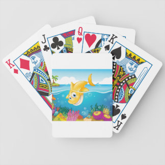 A yellow shark diving into the sea bicycle playing cards