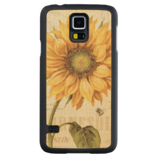 A Yellow Sunflower Carved Maple Galaxy S5 Slim Case