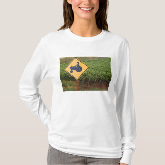 A yellow tractor crossing sign in the vineyard T-Shirt