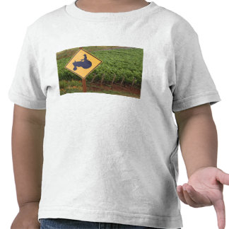 A yellow tractor crossing sign in the vineyard tee shirt