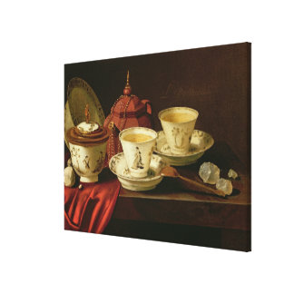 A Yixing Teapot and Chinese Porcelain Tete-a-Tete Canvas Print